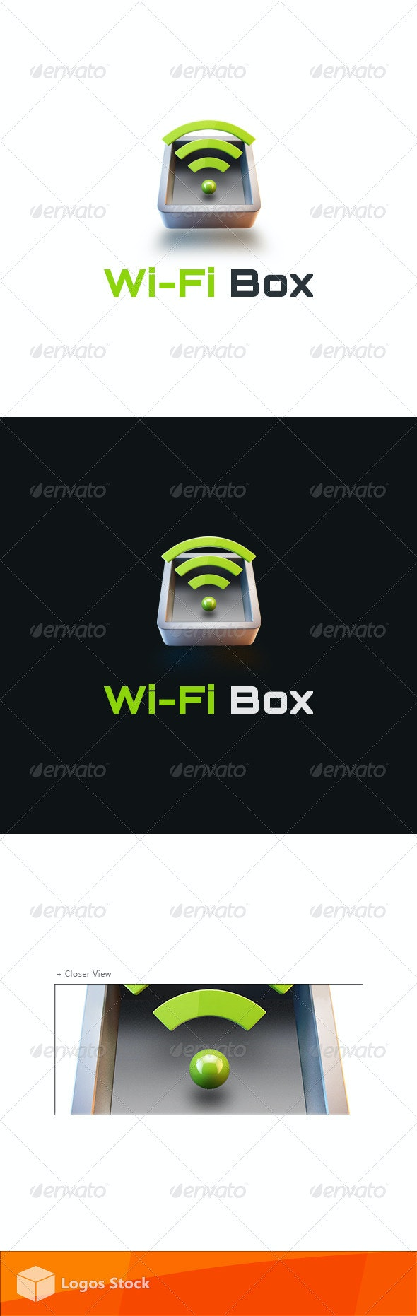 Technology Logo - WiFi Box - 3d Abstract