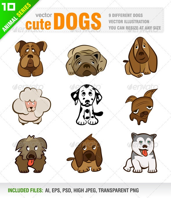 9 Cute Dogs - Animals Characters