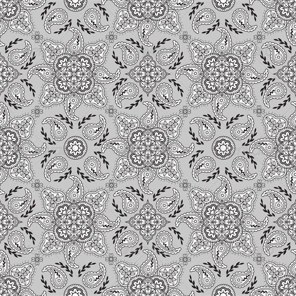 Seamless Gray Paisley Pattern