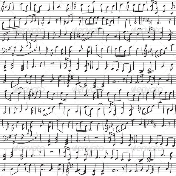 Seamless Background with Handwritten Musical Notes