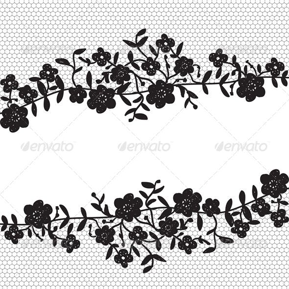 Invitation Card with Floral Lace Border