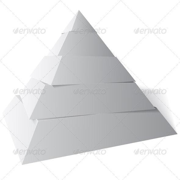 Vector Pyramid Five Levels, 3d Illustration - Vectors