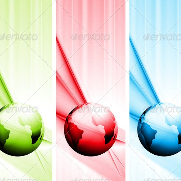 Abstract Vector Tech Banners with Globe