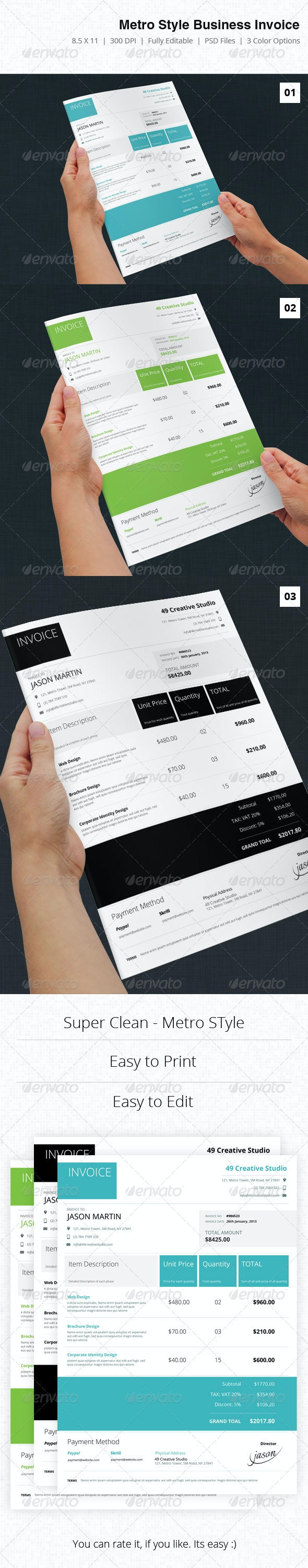 Metro Syle Business Invoice - Proposals & Invoices Stationery