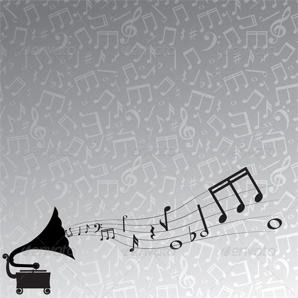 gramophone and melody, gray background