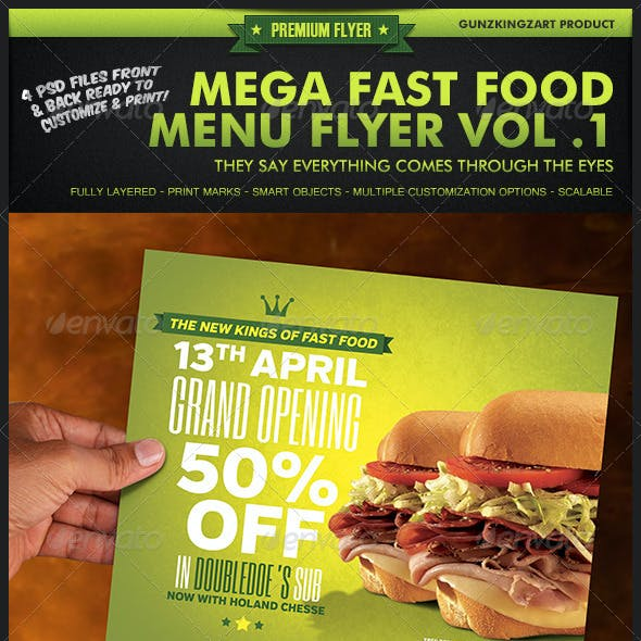 Mega Fast Food Menu Flyer Vol. 1