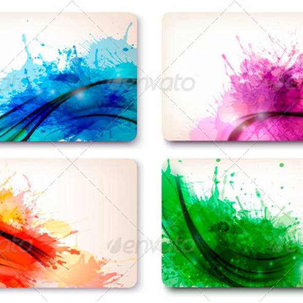 Set of color abstract watercolor backgrounds