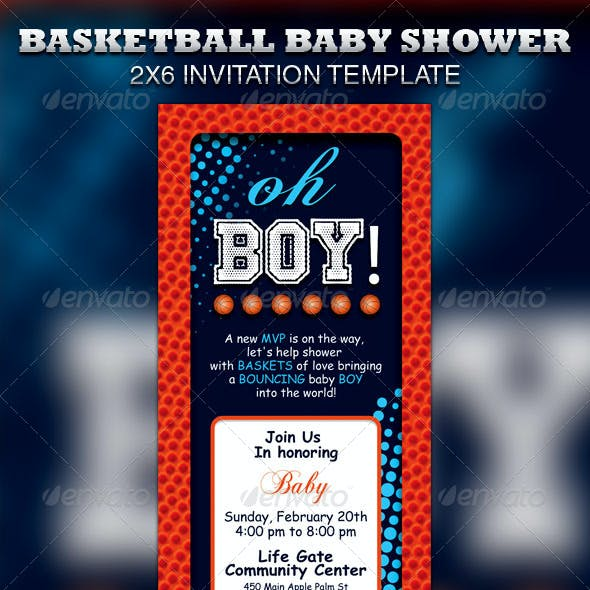 Basketball Baby Shower Invitation & Raffle Ticket