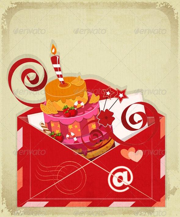 Vintage Birthday Card with Chocolate Berry Cake - Birthdays Seasons/Holidays