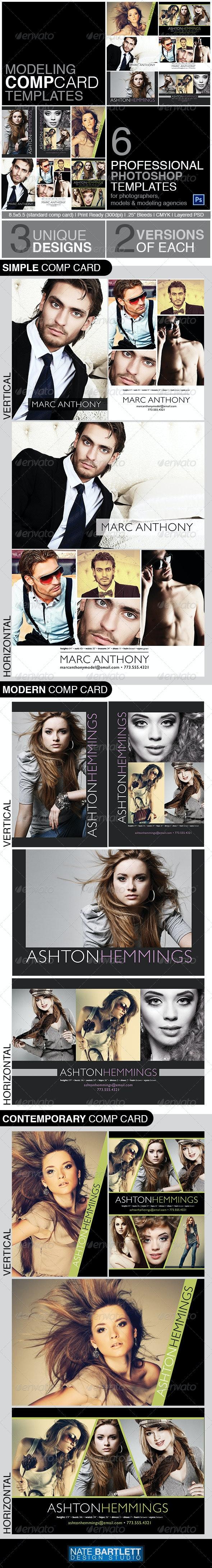 Model Comp Card Template Kit - Miscellaneous Print Templates