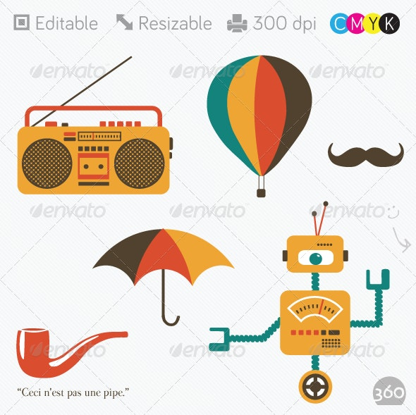 Flat Robot, Boombox, Umbrella, Hot Air Balloon - Retro Technology