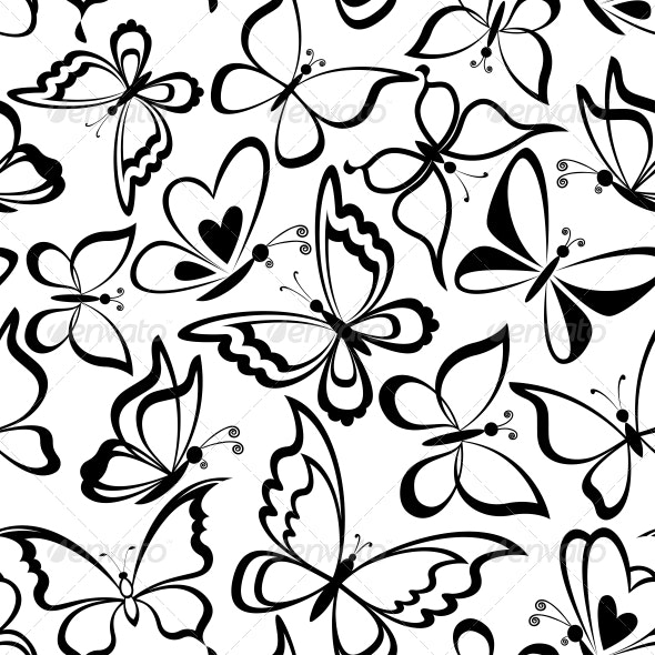 Seamless background, butterflies silhouettes - Patterns Decorative
