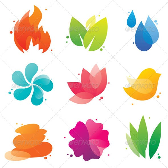 Abstract nature icons