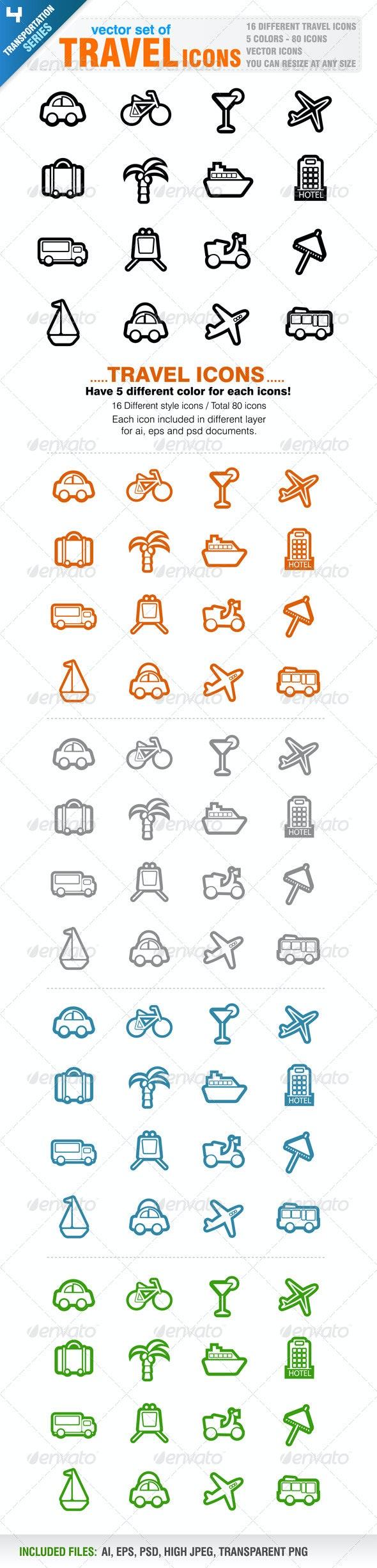 80 Travel icons - Travel Conceptual