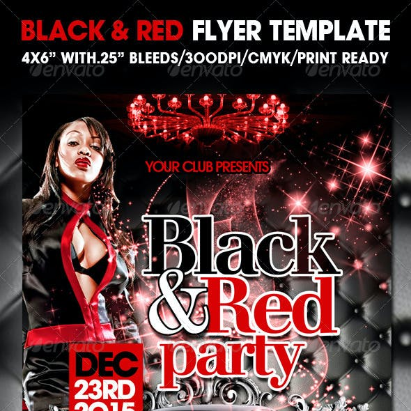 Black and Red Party Flyer Templates
