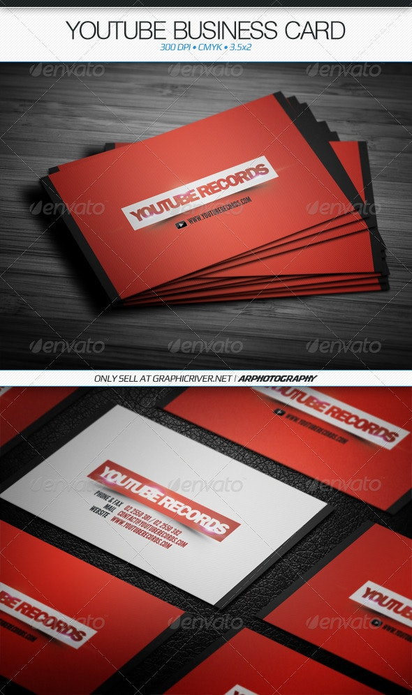 YouTube Business Card - Industry Specific Business Cards