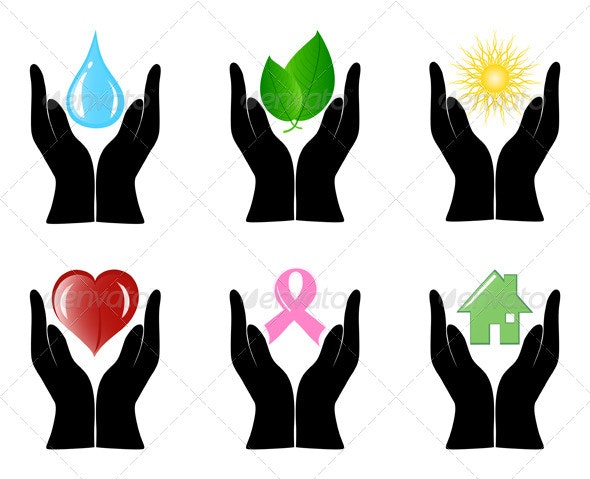 Set of Environment Icons with Human Hands - Objects Vectors