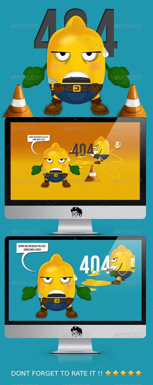 Lemon 404 Error Web Page - 404 Pages Web Elements