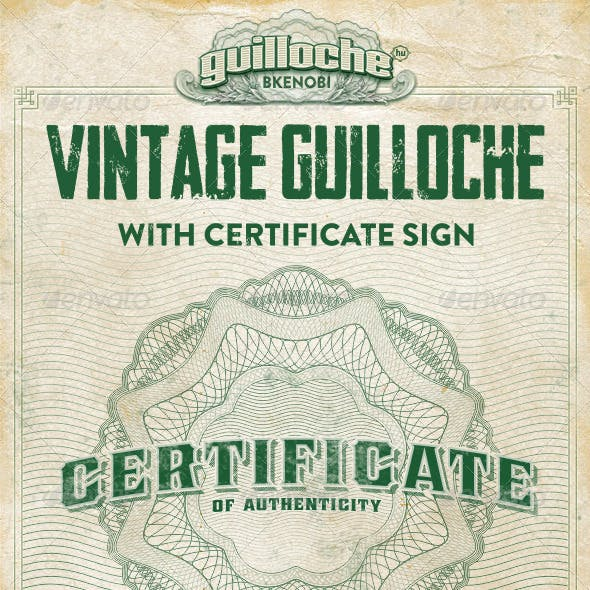 Vintage Guilloche Rosette with Certificate Sign