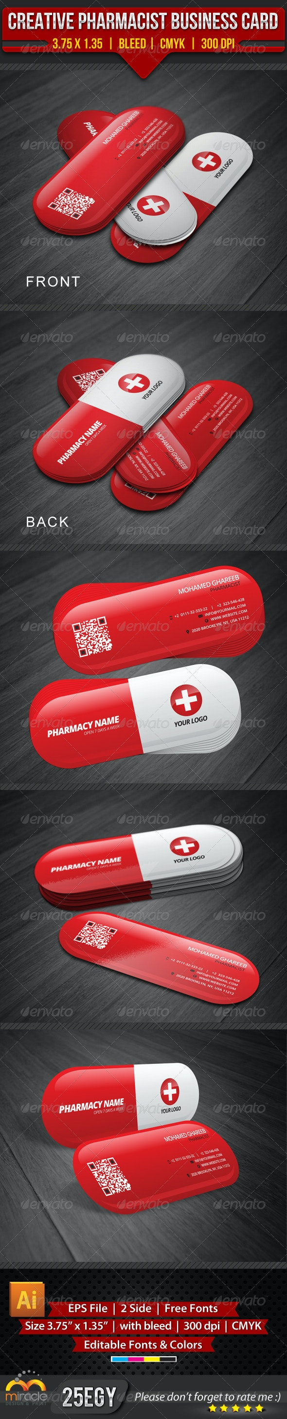 Creative Pharmacist Business Card - Industry Specific Business Cards