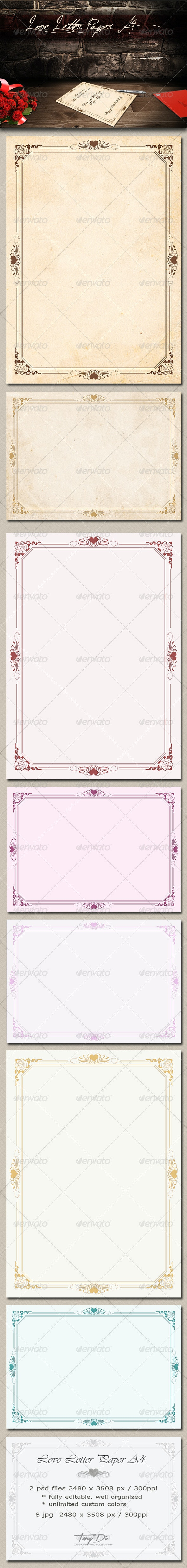 Love Letter Paper A4 - Miscellaneous Backgrounds