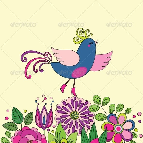 Decorative Colorful Funny Bird on Flowers