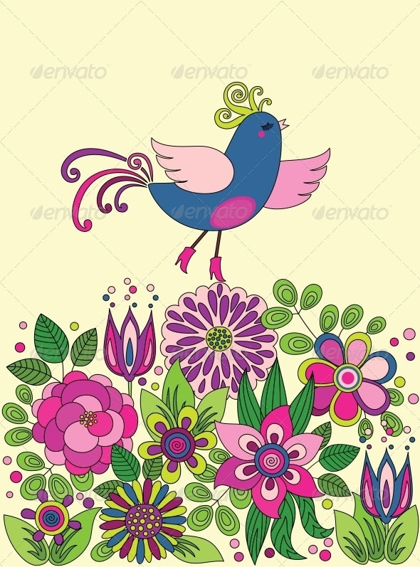Decorative Colorful Funny Bird on Flowers - Backgrounds Decorative