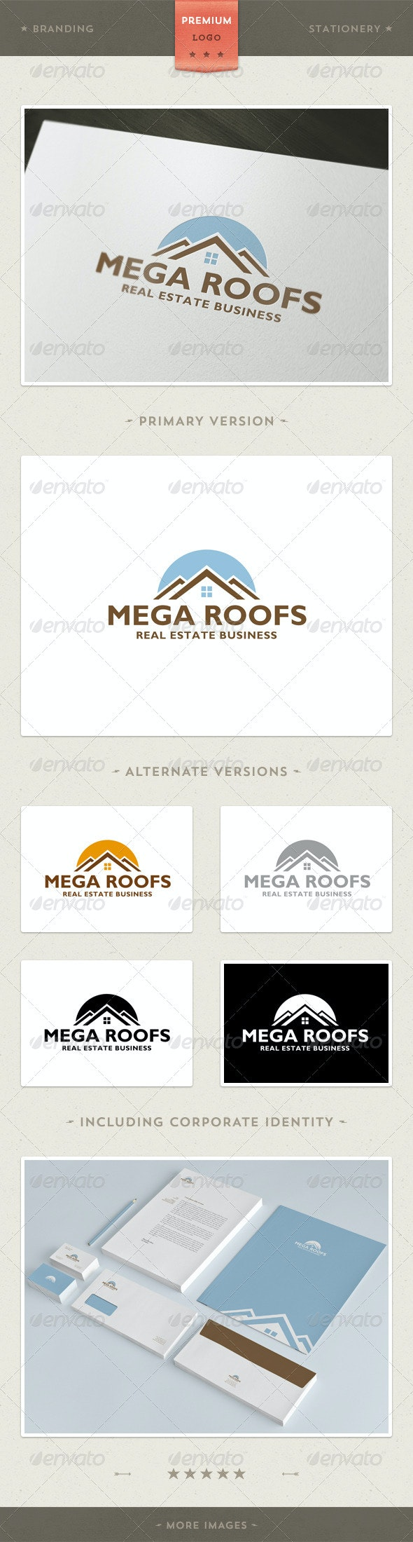 Mega Roofs - Real Estate and Architecture + Branding / Identity - Buildings Logo Templates