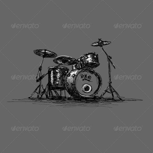 Hand-Drawn Grunge Drum Set