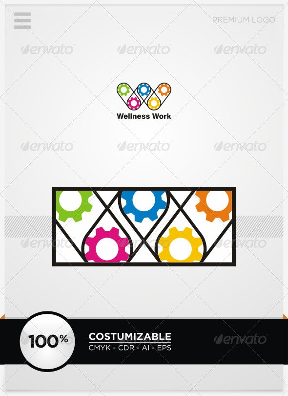 Welness Work and W Letter Logo Template - Letters Logo Templates