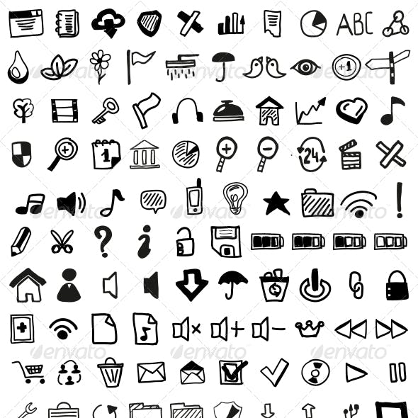 Hand-drawn web icon set