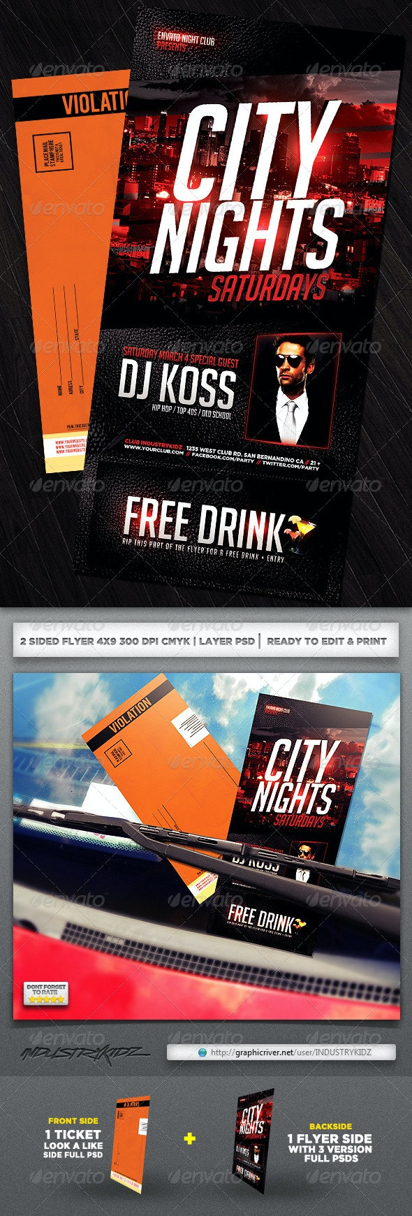 Parking Ticket Flyer  - Clubs & Parties Events