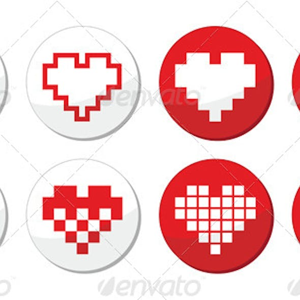 Pixelated Red Heart Icons Set - Love, Dating Online