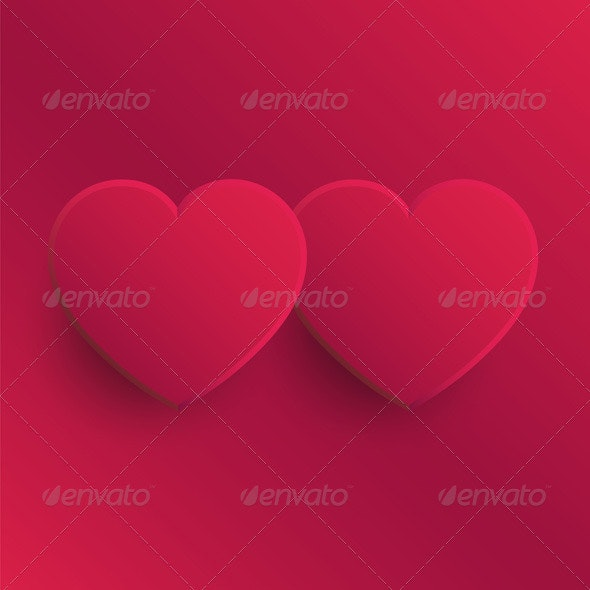 Two Pink Hearts - Valentines Seasons/Holidays