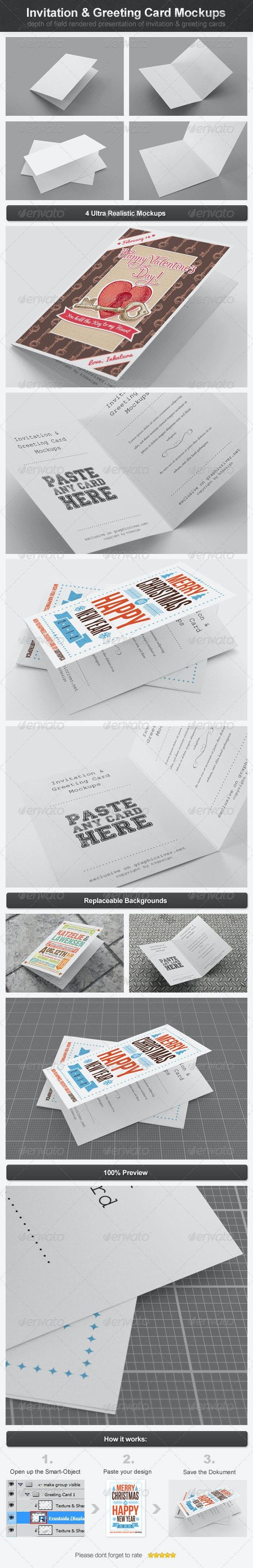 Invitation & Greeting Card Mockups - Miscellaneous Print