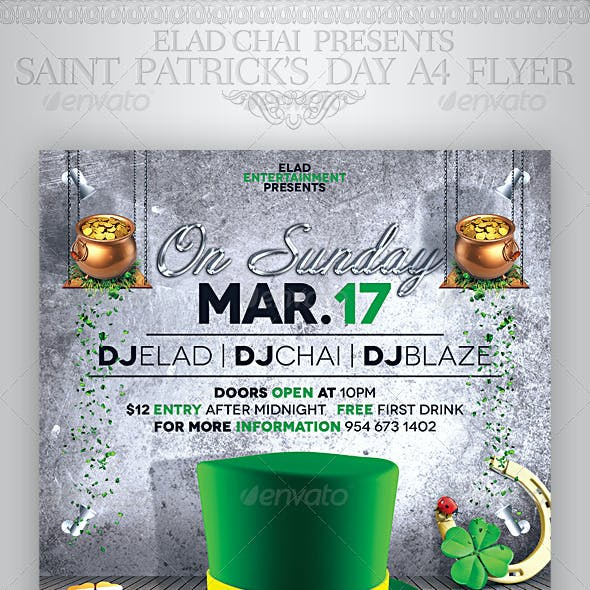 2014 St. Patrick's Day A4 Flyer Poster Template