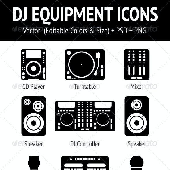 DJ Equipment Icons Set
