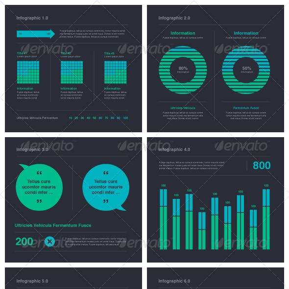 Blue Green Infographic Elements - Vector