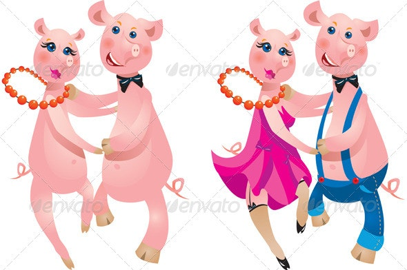 Cartoon of a Happy Couple Pigs Dancing - Animals Characters