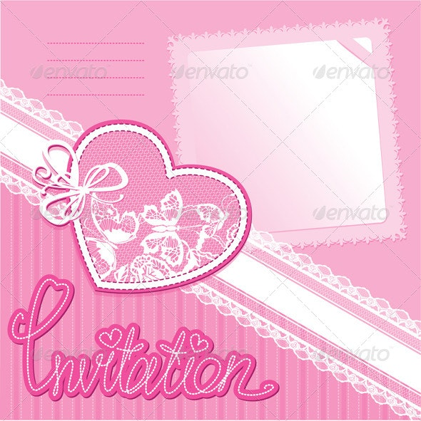 Heart and Piece of Paper on a Pink Background  - Weddings Seasons/Holidays
