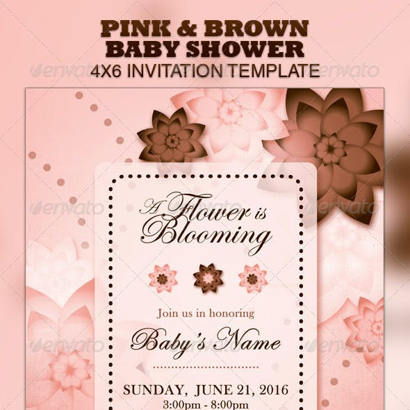Pink & Brown Baby Shower Invitation & Raffle Ticke