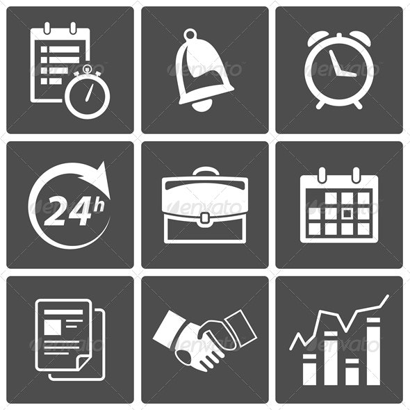Business Time Icons - Web Elements Vectors