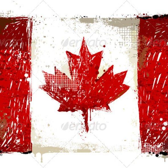 Grungy Canadian Flag