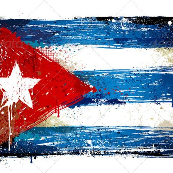 Grungy Cuban flag