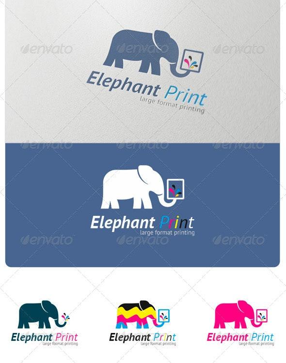 Elephant Print Logo - Animals Logo Templates