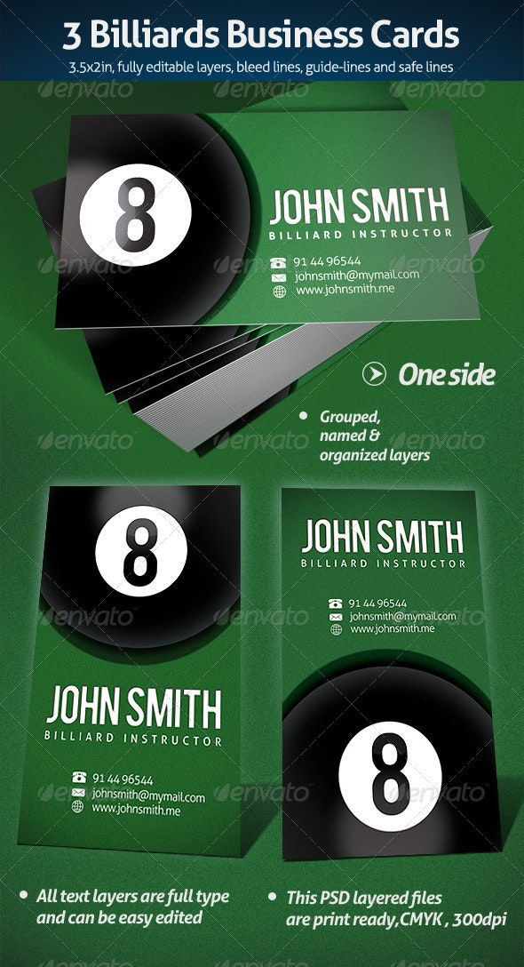 Billiards Business Card - Industry Specific Business Cards