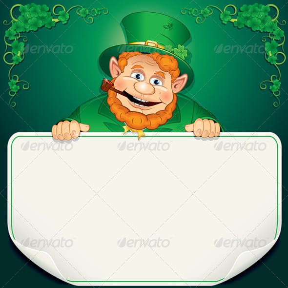 St. Patrick's Day Card. Leprechaun with Blank Sign