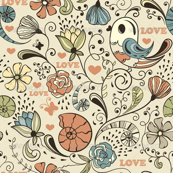 Vector Seamless Spring Pattern - Patterns Decorative
