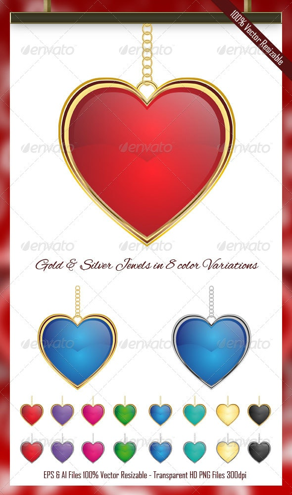 Jewel Heart Vector Pack - Man-made Objects Objects