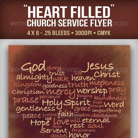"""""""Heart Filled"""" Church Service Flyer"""